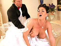 Claire Dames gets home after her wedding and consummates the day in her wedding dress.