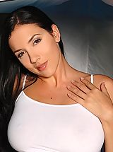 Huge.Tits Pics: Busty babe Jelena Jensen masturbating at her tent to orgasm