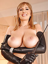 Beautiful busty Edo in & out of tight latex outfit