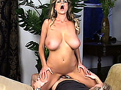 Kelly gets her tits and pussy pounded on a chaise lounge.