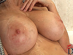 Busty Women Movies, Domenica shows huge wet naturals in the shower!