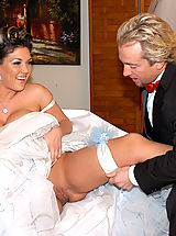 Bouncing Boobs, Claire Dames gets pile drived on her wedding day and a load squirt on her that she licks up.