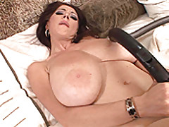Busty Babes, Big boobed Merilyn plays with herself in a maid uniform