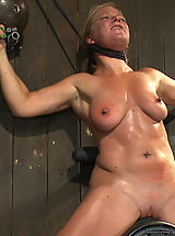 Hard Nipples, Dia Zerva and Ariel X on sybians with severe nipple bondage. Bondage sluts are flogged heavy and whipped hard. Nipples cinched tight during orgasms.