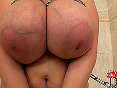 littletits, Busty bound babe Eva naked in chains in bathroom