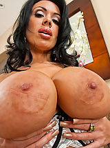 Naughty America, Sienna West big busty brunette sucks big cock and takes pounding from guy.