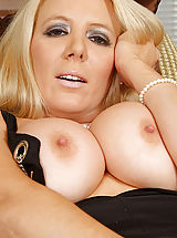 Hard Nipples, Sophisticated blonde Anilos model screws her tight matured pussy vigorously