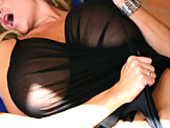 Kelly wears a see thru top and begs to get fucked outside.