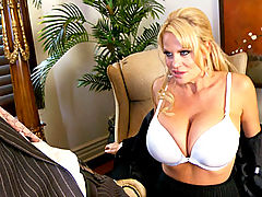 Busty Babes, Kelly sucks on Ryan's cock while she wears glasses
