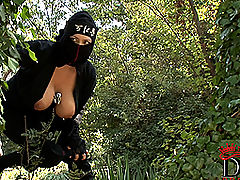 nice funbags, Busty ninja Shione Cooper taking off black dress outdoors