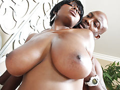 Young Busty Movies, Horny black chick with huge boobs gets pounded!