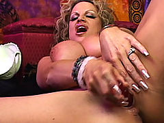 Busty Women Movies, Psychic Kelly is having an orgasm and sucking her pussy juice off her dildo.