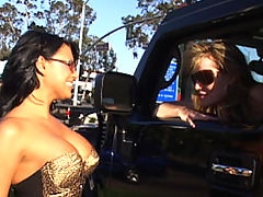 Content of Eva Angelina - On my way to the local biker bar to meet up with my husband I came across one hot mama on the side of the road. I told her she would look even hotter sitting on the back of my man's bike. I called him up and she jumped on...