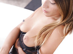 Nipples Vids: Freckled beauty Eva Lovia dresses in lacy lingerie to seduce her man into a wild fuckfest in her landing strip pussy