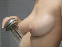 nice little tits, Big breasted blonde Natalia Star gets wet and wild aiming the shower spray at her horny bald pussy to pleasure her twat