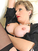 Mature cuffed in black lingerie