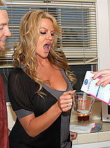 Hard Nipples, Kelly Madison and her husband drop by next door and fuck Jayden James in the kitchen.