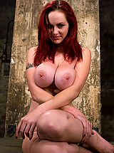 HUGE breasted red head, gets bound and tormented, forced to cum