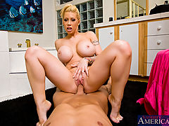 Big Ass, Horny housewife Candy Manson fucks and sucks her husbands hot cock.
