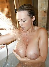 Nipples Pics: Houswife whith Super Huge Tits under the shower