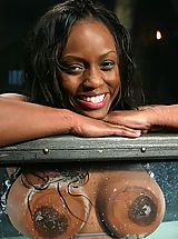 Big Tits Fetish, Sexy black girl is bound and fucked by a machine