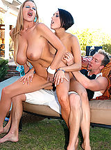 Busty Pics, Kelly Madison and Dylan Ryder went to a bbq and stuffed themselves with cock not hot dogs.