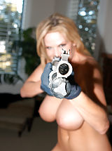 Kelly Madison, Kelly was hunting wabbits in her super short overalls and white tank.