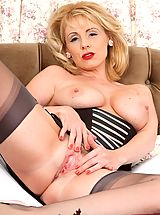 big dildo, Vintage bra, girdle and seamed nylons suit randy Clair so well!